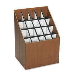 Safco - corrugated roll files, 20 compartments, 15w x 12d x 22h, woodgrain, sold as 1 ea