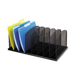 Safco 3253BL Mesh Desk Organizer, Eight Sections, Steel, 19 3/8 X 11 3/8 X 8, Black
