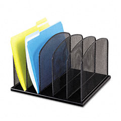 Safco - mesh desk organizer, five sections, steel, 12 1/2 x 11 1/4 x 8 1/4, black, sold as 1 ea