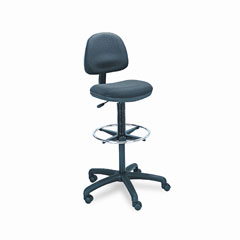 Safco 3401BL Precision Extended Height Swivel Stool W/Adjustable Footring, Black Fabric