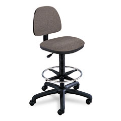 Safco 3401DG Precision Extended Height Swivel Stool W/Adjustable Footring, Dark Gray