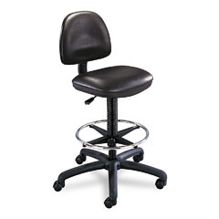 Safco 3406BL Precision Extended Height Swivel Stool W/Adjustable Footring, Black Vinyl