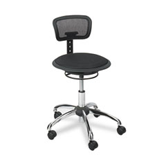 Safco SAF3410BL Adjustable-Height Stool, Black Mesh Fabric Seat/Back, Chrome Base/Accents