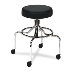 Safco 3433BL Screw Lift Stool W/High Base, Height-Adjustable, 25-33H, Chrome/Black