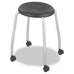 Safco 3435BL Stack-N-Roll Stool, Black/Silver, 2 Per Carton