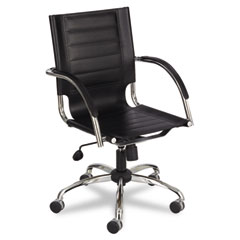 Safco 3456BL Flaunt Series Mid-Back Manager'S Chair, Black Leather/Chrome