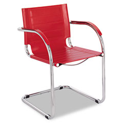 Safco 3457RD Flaunt Series Guest Chair, Red Leather/Chrome