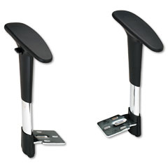 Safco - adjustable t-pad arms for metro series extended-height chairs, black/chrome, sold as 1 pr