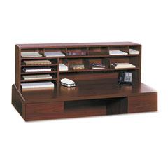 Safco 3651CY Wood Desktop Organizer, Double Shelf, Three Sections, 57 1/2 X 12 X 18, Cherry