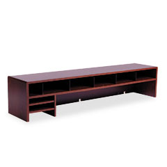 Safco - low-profile desktop organizer, 10 sections, 57 1/2 x 12 x 12, mahogany, sold as 1 ea