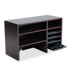 Safco - desktop organizer, nine sections, 29 x 12 x 18, mahogany, sold as 1 ea