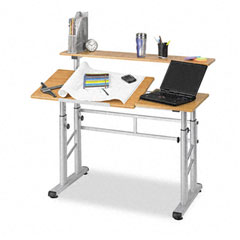 Safco 3965MO Adjustable Split Level Workstation, 47-1/4W X 29-1/2D X 37-1/4H, Medium Oak