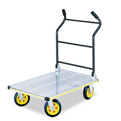 Safco - stow-away platform truck, 900lb capacity, 24 x 35-1/4, aluminum/black, sold as 1 ea