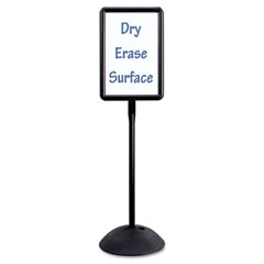 Safco - double sided sign, magnetic/dry erase steel, 14 1/4 x 22 1/4, white, black frame, sold as 1 ea