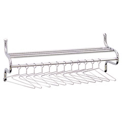Safco 4164 Wall Shelf Rack, 12 Non-Removable Hangers, Metal, Chrome-Plated