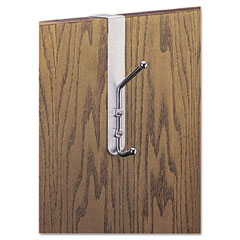Safco - over-the-door double coat hook, chrome-plated steel, satin aluminum base, sold as 1 ea