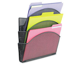 Safco - onyx magnetic mesh panel accessories, triple file pocket, black, sold as 1 ea