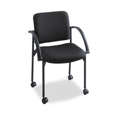 Safco - moto stacking chairs, black fabric upholstery, 2/carton, sold as 1 ct