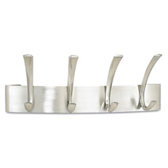 Safco - metal coat racks, silver, steel, wall rack, four hooks, sold as 1 ea