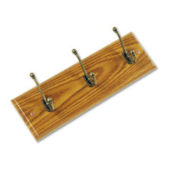 Safco - wall rack, three double-hooks, wood, medium oak, sold as 1 ea