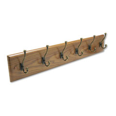 Safco 4217MO Wall Rack, Six Double-Hooks, Wood, Medium Oak