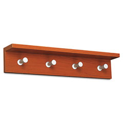 Safco 4221CY Wood Wall Rack, 4 Hook, Cherry