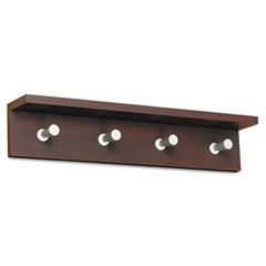 Safco 4221MH Wood Wall Rack, 4 Hook, Mahogany