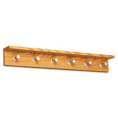 Safco 4222MO Wood Wall Rack, 6 Hook, Medium Oak