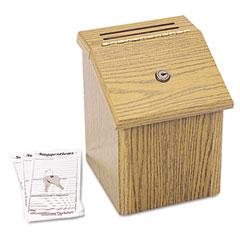 Safco - wood suggestion box, latch lid key lock, 7 3/4 x 7 1/2 x 9 3/4, oak, sold as 1 ea