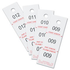 Safco - three-part coat room checks, paper, 1 1/2 x 5, white, 500/box, sold as 1 pk
