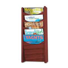 Safco - solid wood wall-mount literature display rack, 11-1/4w x 3-3/4d x 24h, mahogany, sold as 1 ea