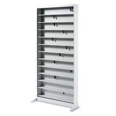 Safco 4936LG A/V Adjustable Open Shelving, 12 Shelves, 36W X 13-1/4D X 78H, Light Gray