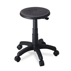 Safco - office stool with casters, seat: 14in dia. x 16-21, black, sold as 1 ea