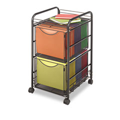 Safco - onyx mesh mobile double file, 1-shelf, 15-1/2 x 17-1/4 x 27-1/4, black, sold as 1 ea