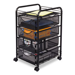 Safco - onyx mesh mobile file w/four supply drawers, 15-3/4w x 17d x 27h, black, sold as 1 ea