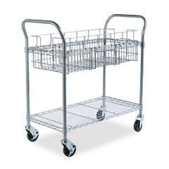 Safco 5236GR Wire Mail Cart, 600Lbs, 18-3/4W X 39D X 38-1/2H, Metallic Gray