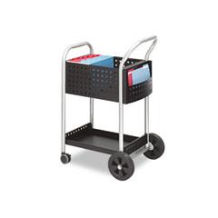 Safco 5238BL Scoot Mail Cart, 1-Shelf, 22W X 27D X 40-1/2H, Black/Silver