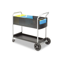 Safco 5239BL Scoot Mail Cart, 1-Shelf, 22-1/2W X 39-1/2D X 40-3/4H, Black/Silver