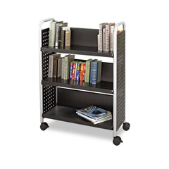 Safco - scoot book cart, 3-shelf, 32-1/2w x 14-1/4d x 44-1/4h, black, sold as 1 ea