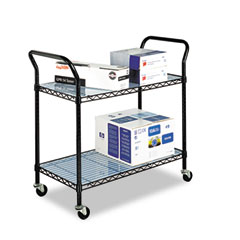 Safco - wire utility cart, 2-shelf, 43-3/4w x 19-1/4d x 40-1/2h, black, sold as 1 ea