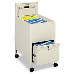 Safco 5364PT Locking Mobile Tub File With Drawer, Letter Size, 17W X 26D X 28H, Putty