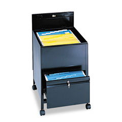 Safco 5365BL Locking Mobile Tub File With Drawer, Legal Size, 20W X 26D X 28H, Black