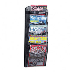 Safco - mesh literature rack, 5 compartments, 10-1/4w x 3-1/2d x 28-1/3h, black, sold as 1 ea
