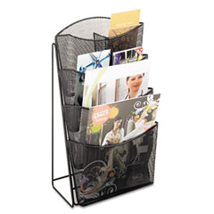 Safco - onyx mesh counter displaym 4 compartments, 9-3/4w x 6-1/2d x 18h, black, sold as 1 ea