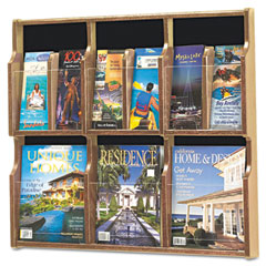 Safco - expose adj magazine/pamphlet 6-pocket display, 29-3/4 x 2-1/2 x 26-1/4, med oak, sold as 1 ea