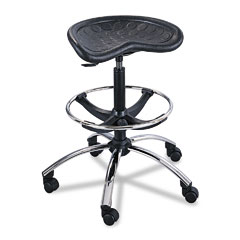 Safco 6660BL Sit-Star Stool With Footring & Caster, 27-36H Seat, Black/Chrome