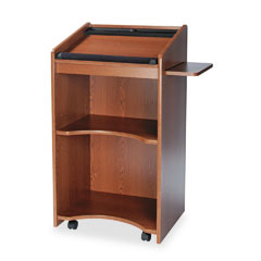 Safco - executive mobile lectern, 25-1/4w x 19-3/4d x 46h, medium oak, sold as 1 ea