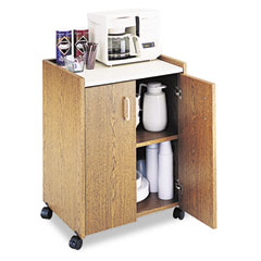 Safco 8953MO Mobile Refreshment Center, 1-Shelf, 23W X 18D X 31H, Medium Oak/White