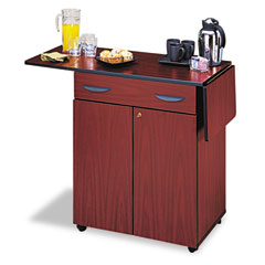 Safco - hospitality service cart, 1-shelf, 32-1/2w x 20-1/2d x 38-3/4h, mahogany, sold as 1 ea