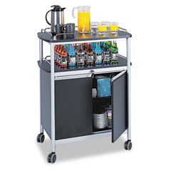 Safco - mobile beverage cart, 33-1/2w x 21-3/4d x 43h, black, sold as 1 ea